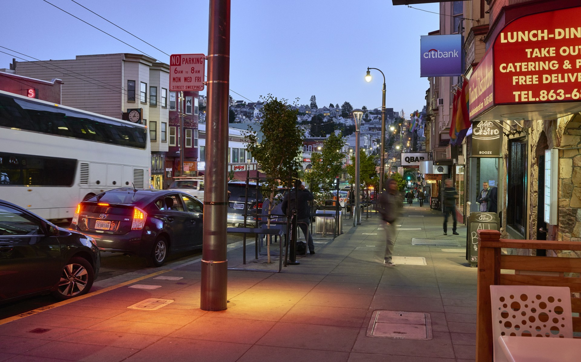 Each 26-foot-high luminaire spreads a 6-foot radius of color-changing light onto the sidewalks below.