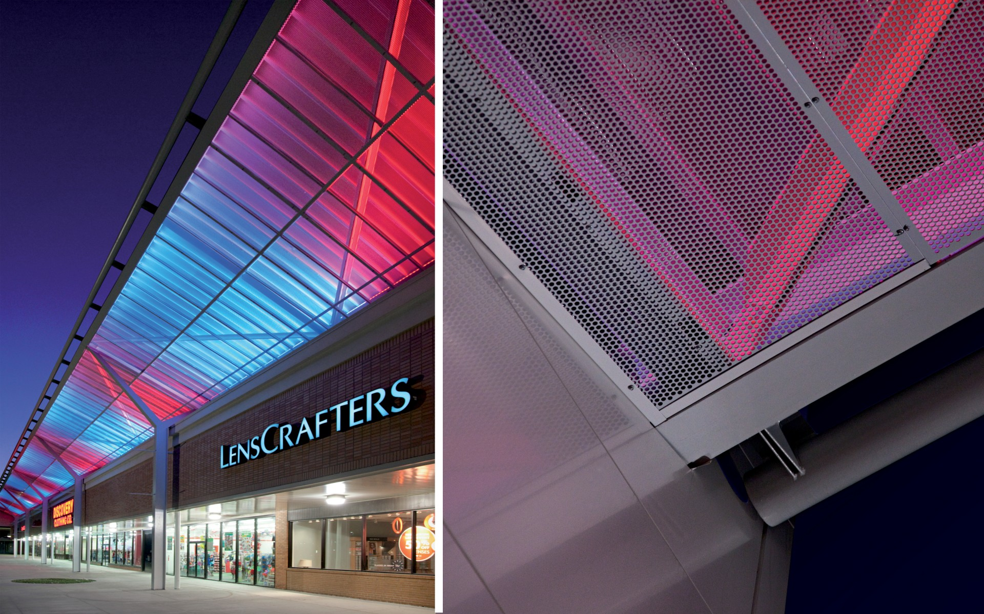 The striking effect is achieved with RGB Lumenfacades that graze the metal mesh in richly coloured light.