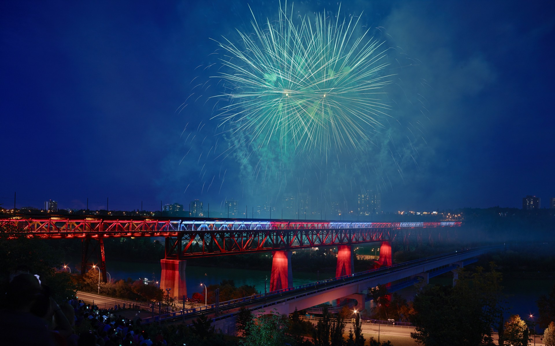 For the first time in its 102-year history, Edmonton's High Level Bridge has been illuminated.
