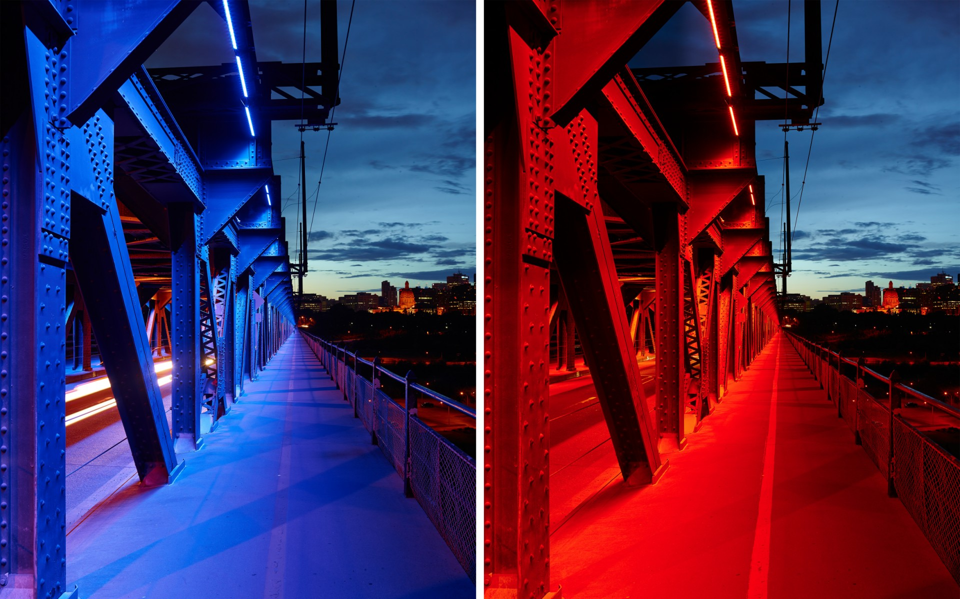 Charged with programming the historic system, Edmonton-based Prolux Lighting decided to emphasize the utilitarian aspects of the multi-functional bridge.