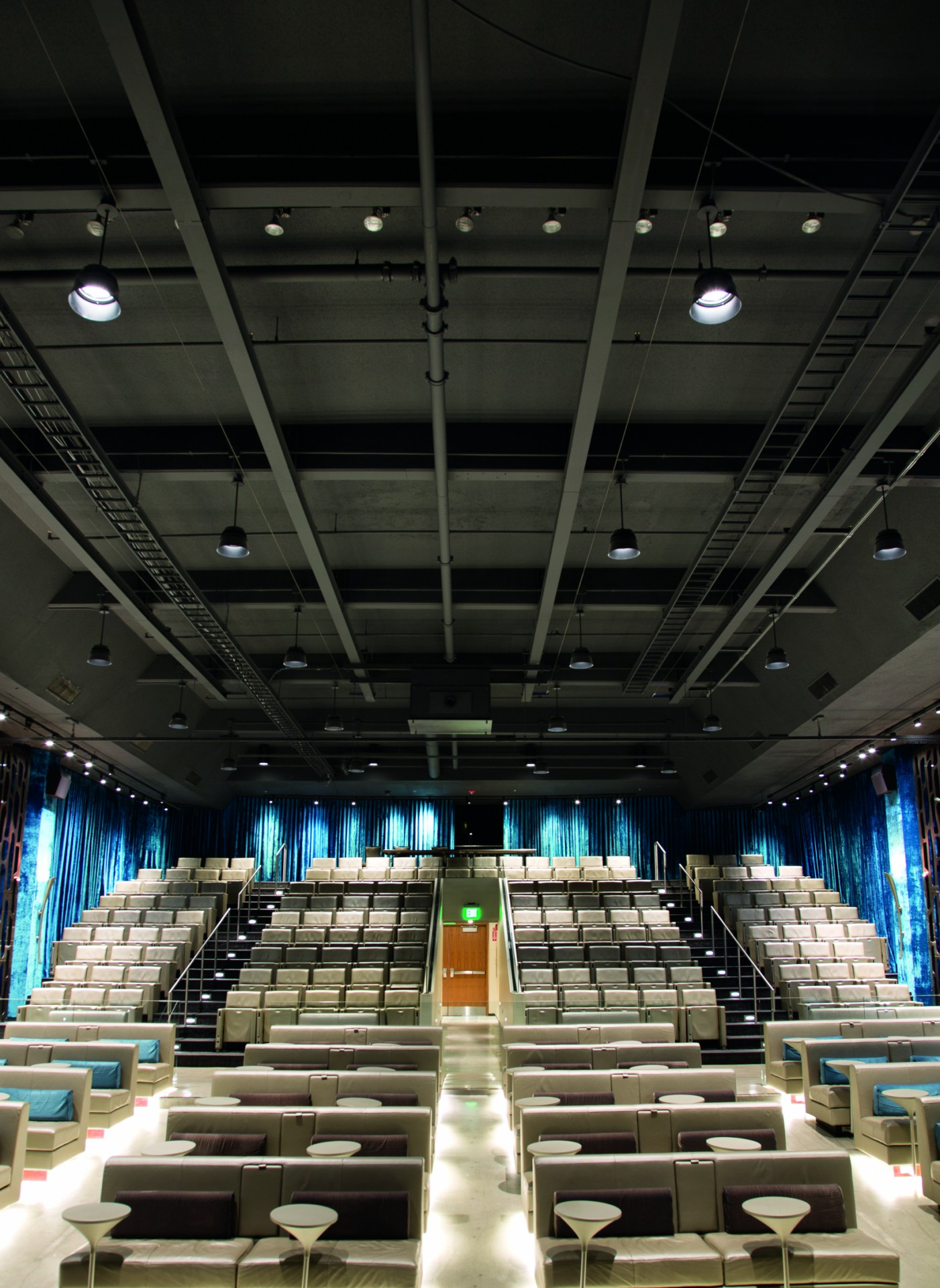 With full dimming capabilities and separate zones of control, the new lighting design has turned Theatre 1 into a modern, multi-functional performance and event space.