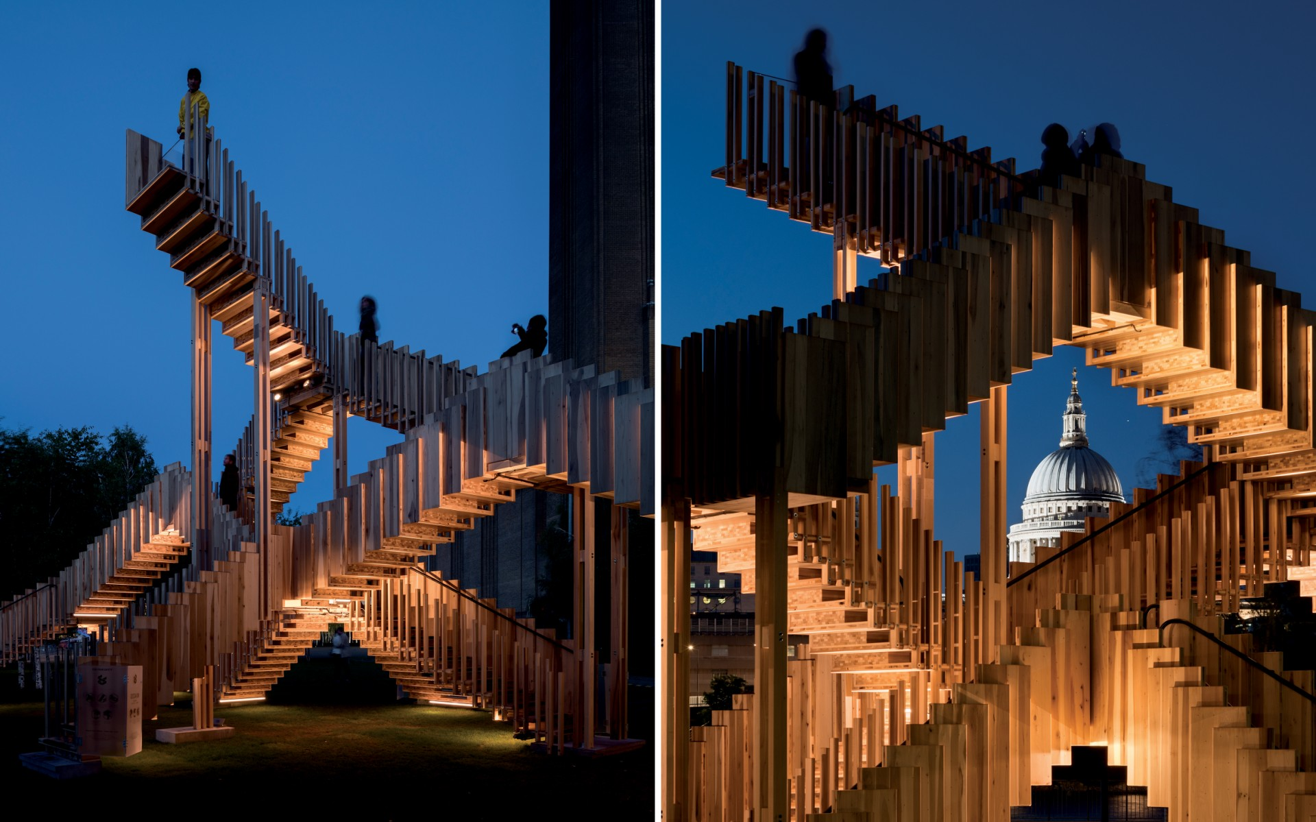 The sequencing visually recomposes and reconfigures the sculpture, matching its Escheresque design spirit.