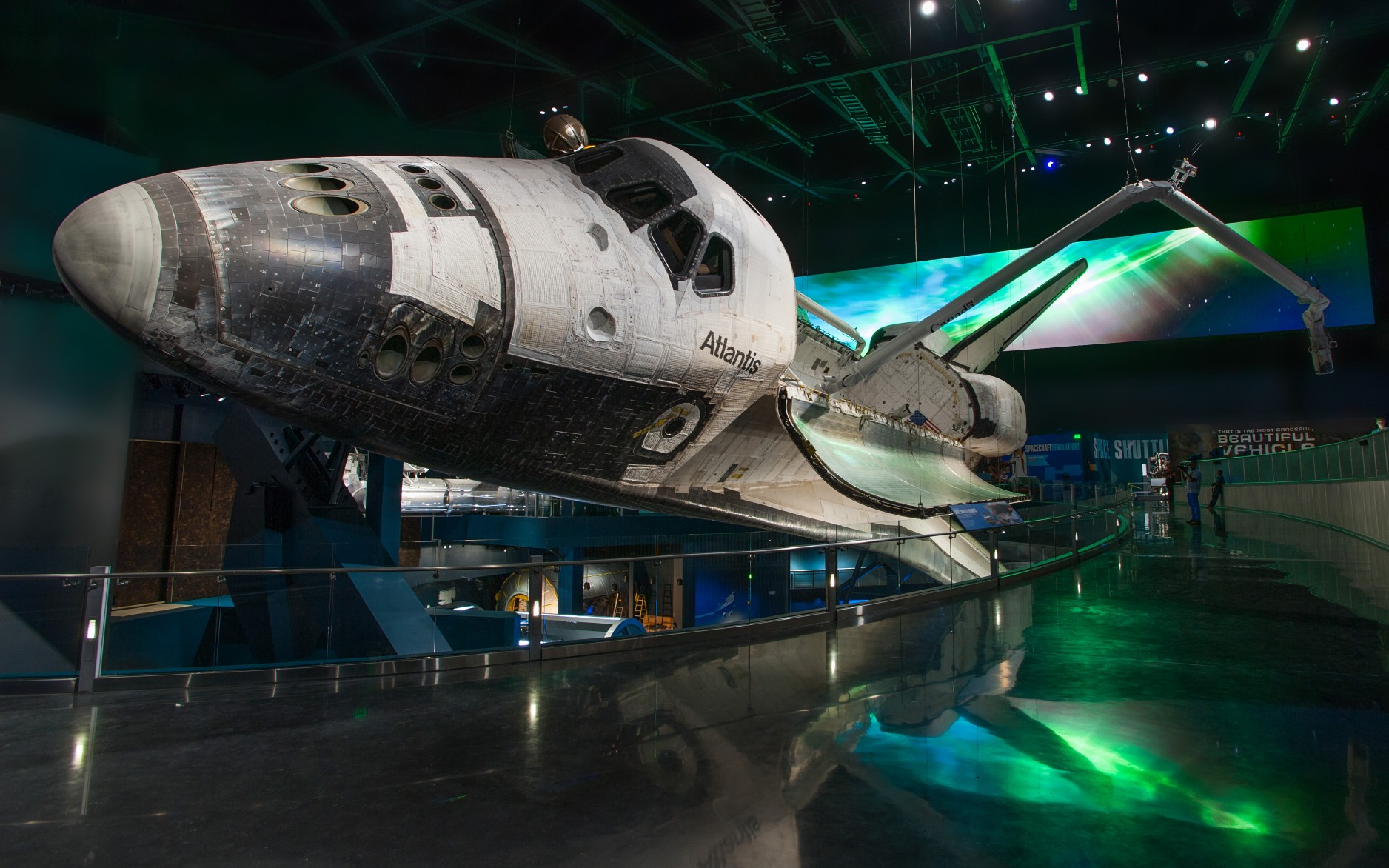 The space shuttle Atlantis is the centerpiece of a new 90,000 square feet museum at the Kennedy Space Center.