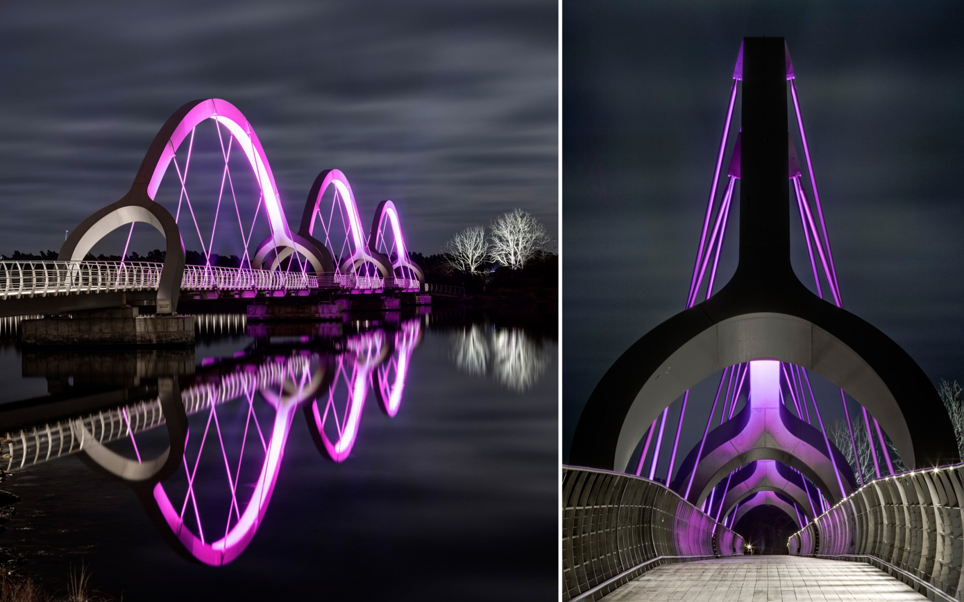 The firm used Lumenfacade Color Changing luminaires to graze the suspension cables and light the distinctive arches.
