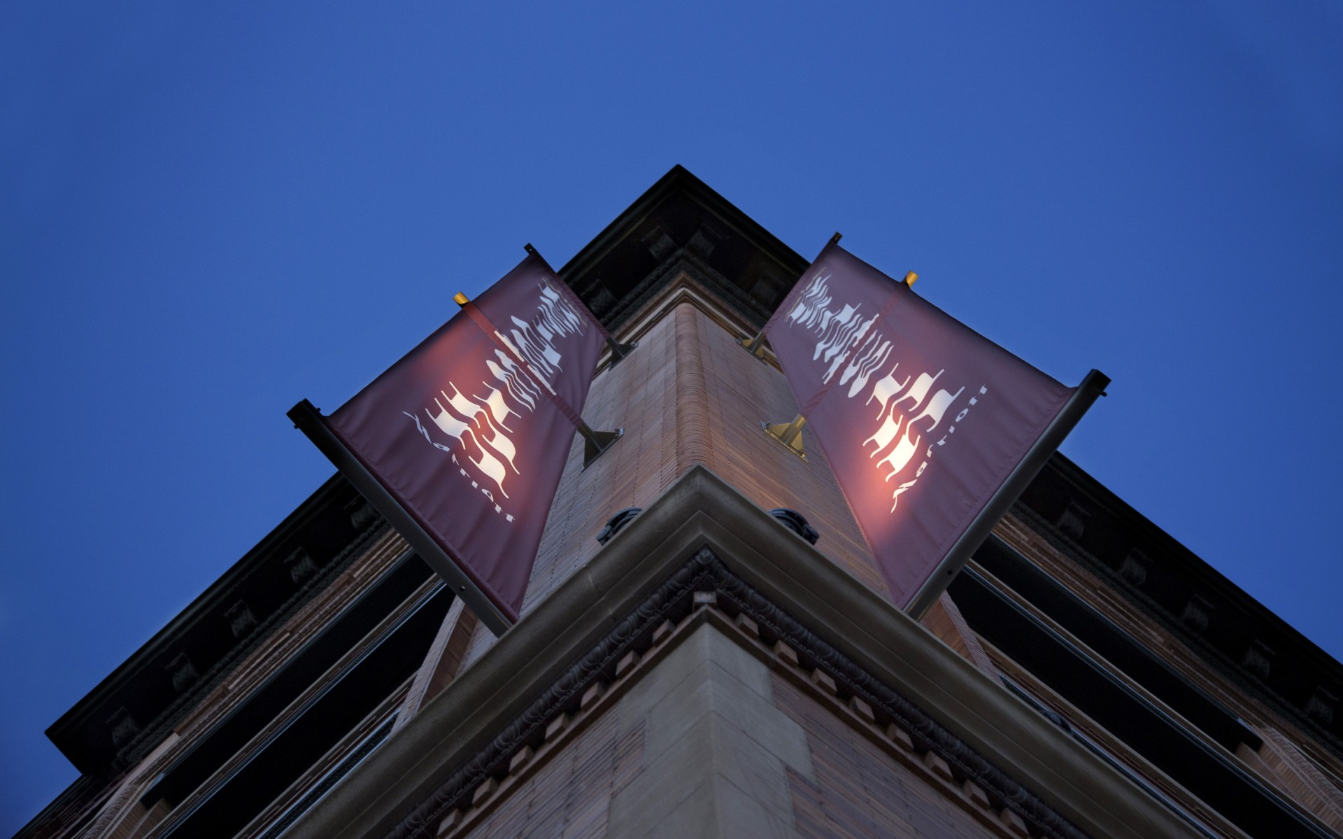 The fixtures are also used to illuminate the banners advertising the Residence Inn.