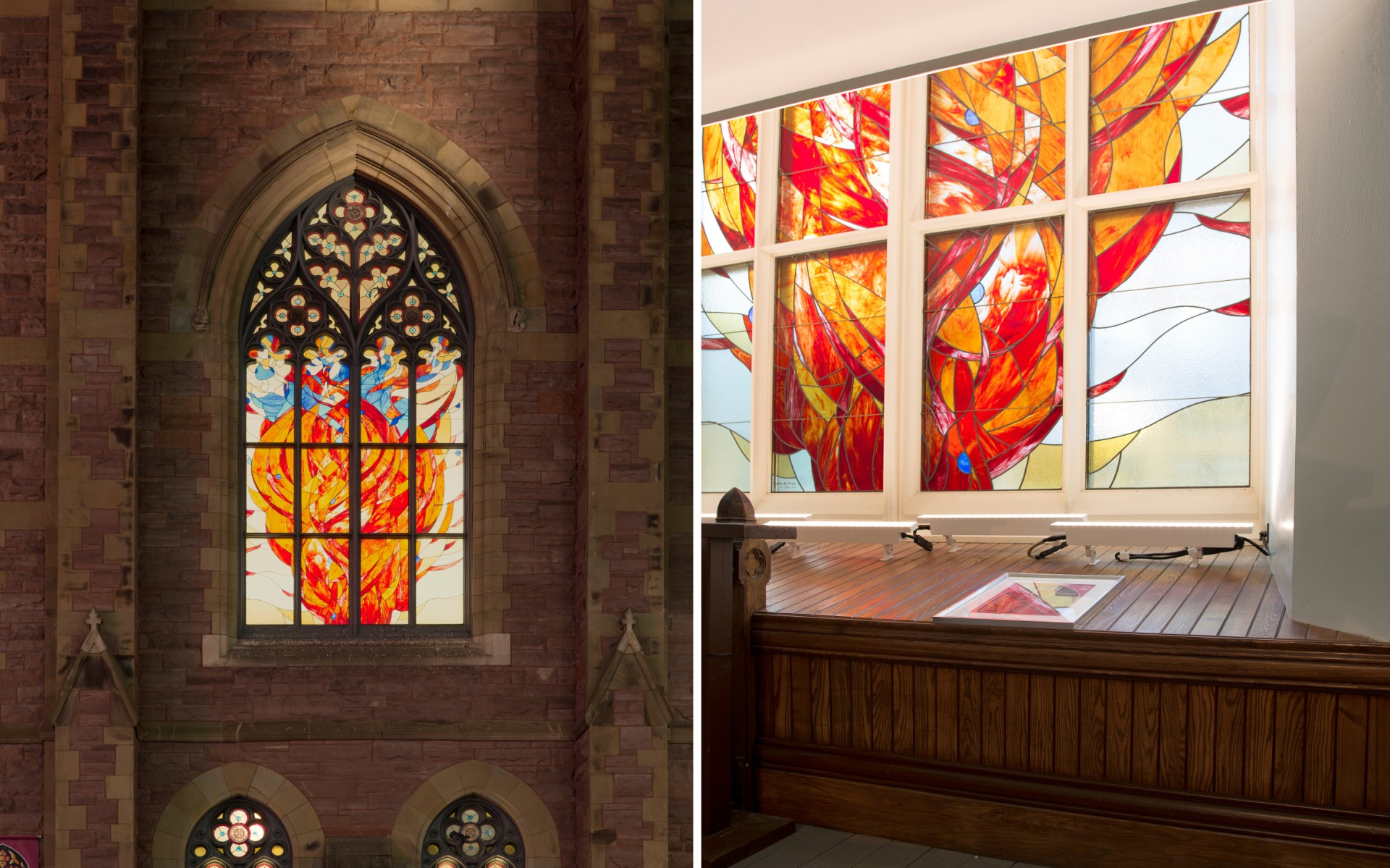 CS Design backlit the stained glass with automated Lutron screens, which roll down behind the windows.