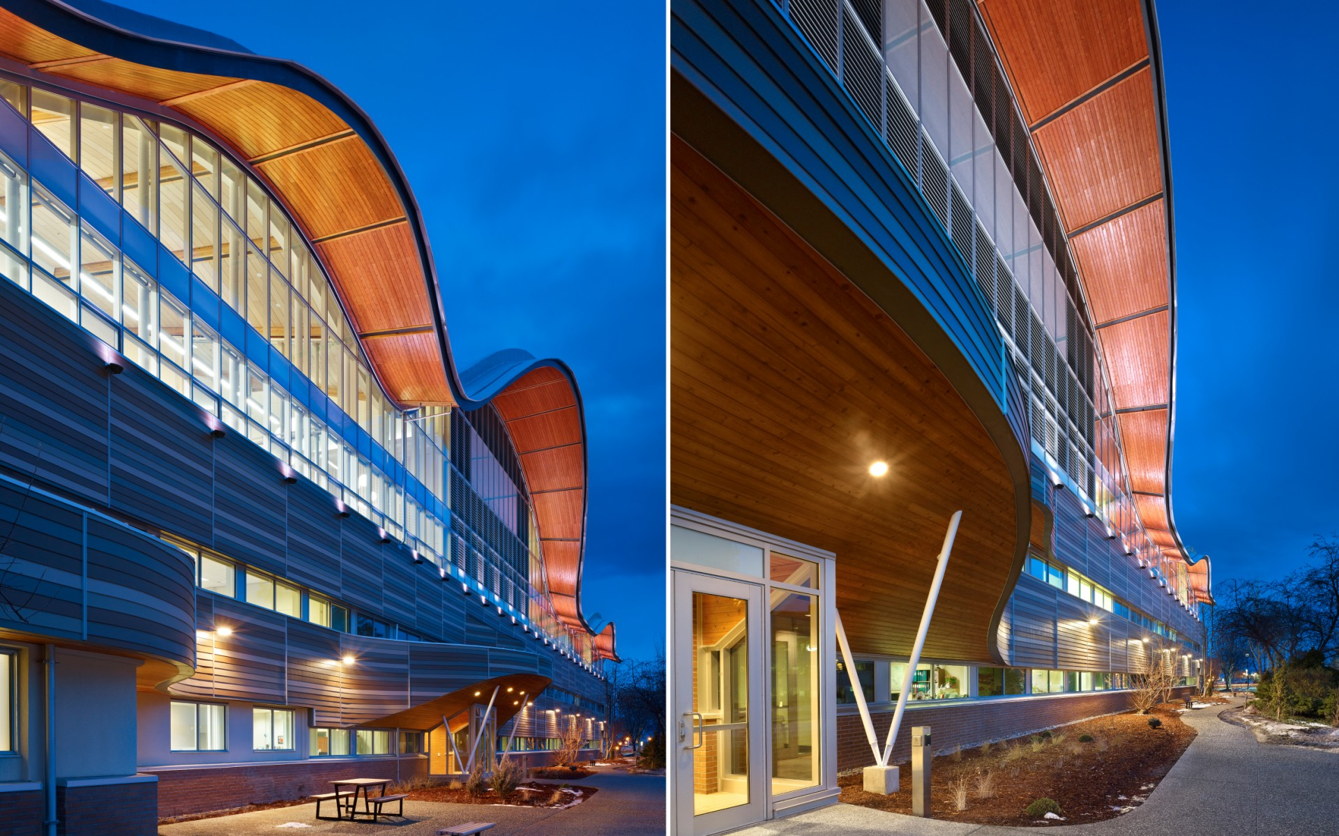 Diamond Schmitt Architects used Lumenbeam Large fixtures to emphasize the building's undulating roof design.
