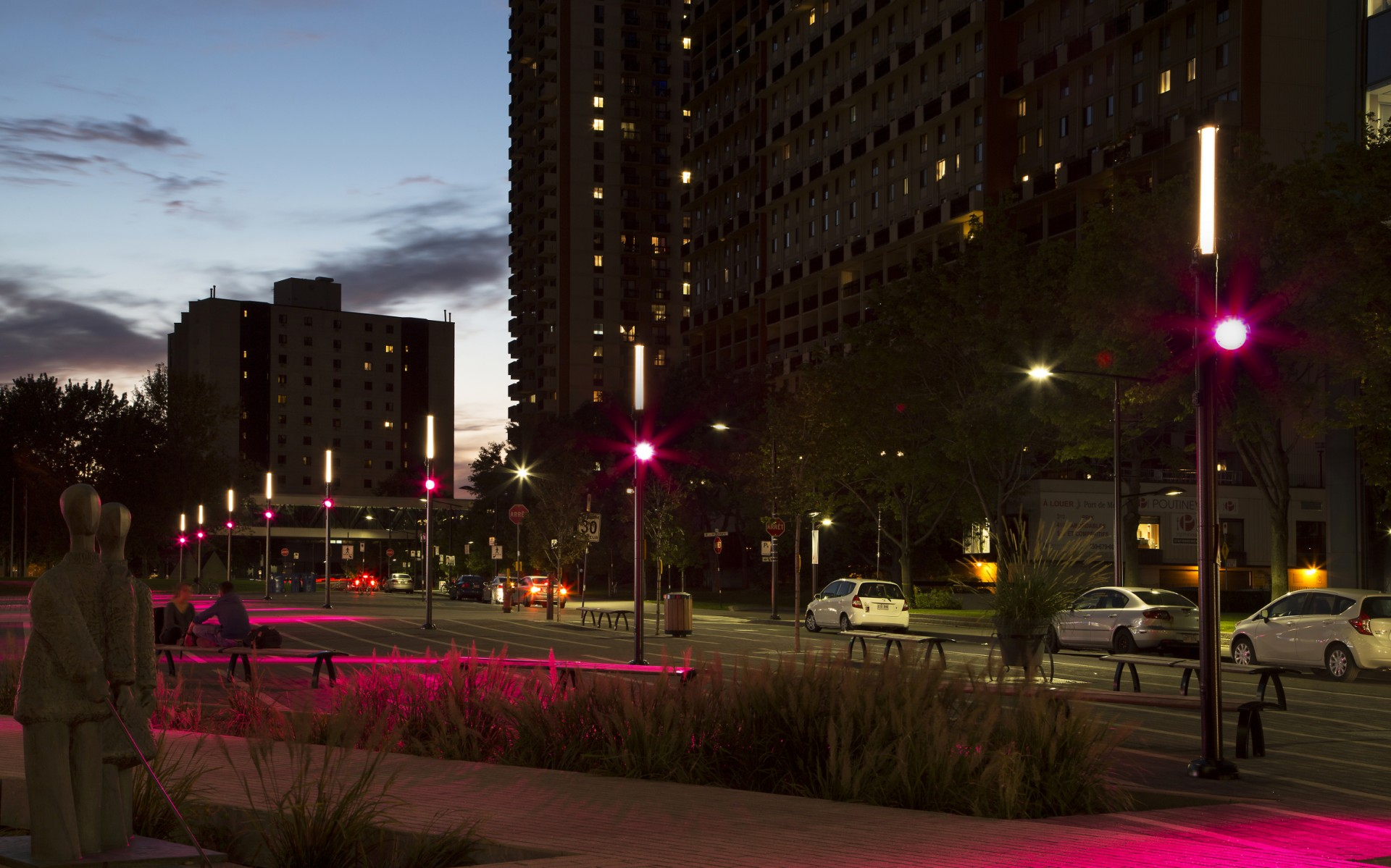 """By combining these luminaires with Lumentalk, we were able to create linear lines of light that lead towards the center of the plaza,"" Corbeil says."