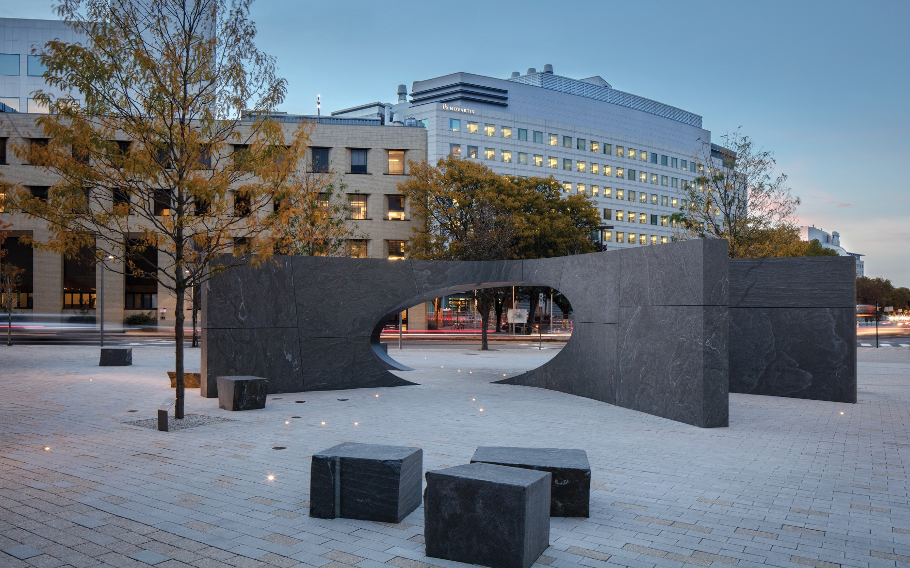 Designed by J. Meejin Yoon, the memorial embodies strength through unity, with 32 interlocking blocks of granite.
