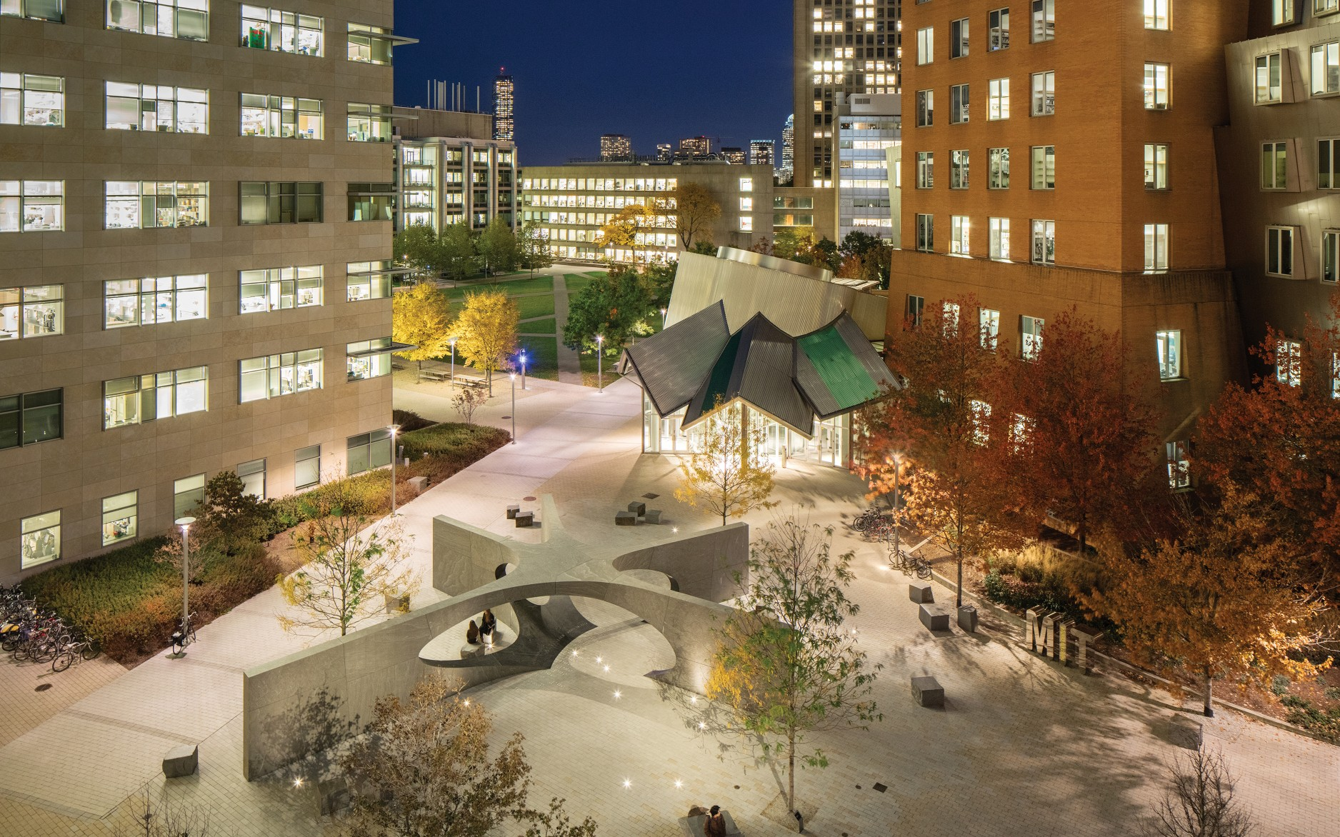 The Collier Memorial at MIT honors police officer Sean Collier, who was killed in the line of duty on April 18, 2013.