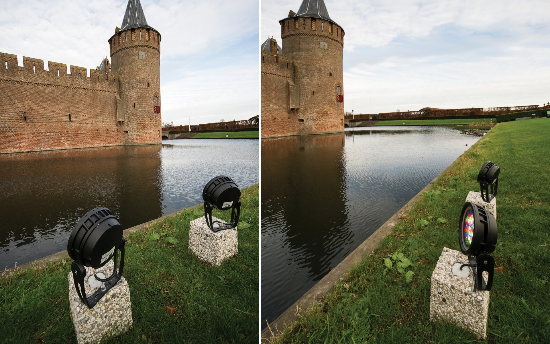Installed across the moat and aimed at the castle's facade, the 50W Lumenbeam luminaires cut power by 80 per cent, reducing maintenance at a stroke.