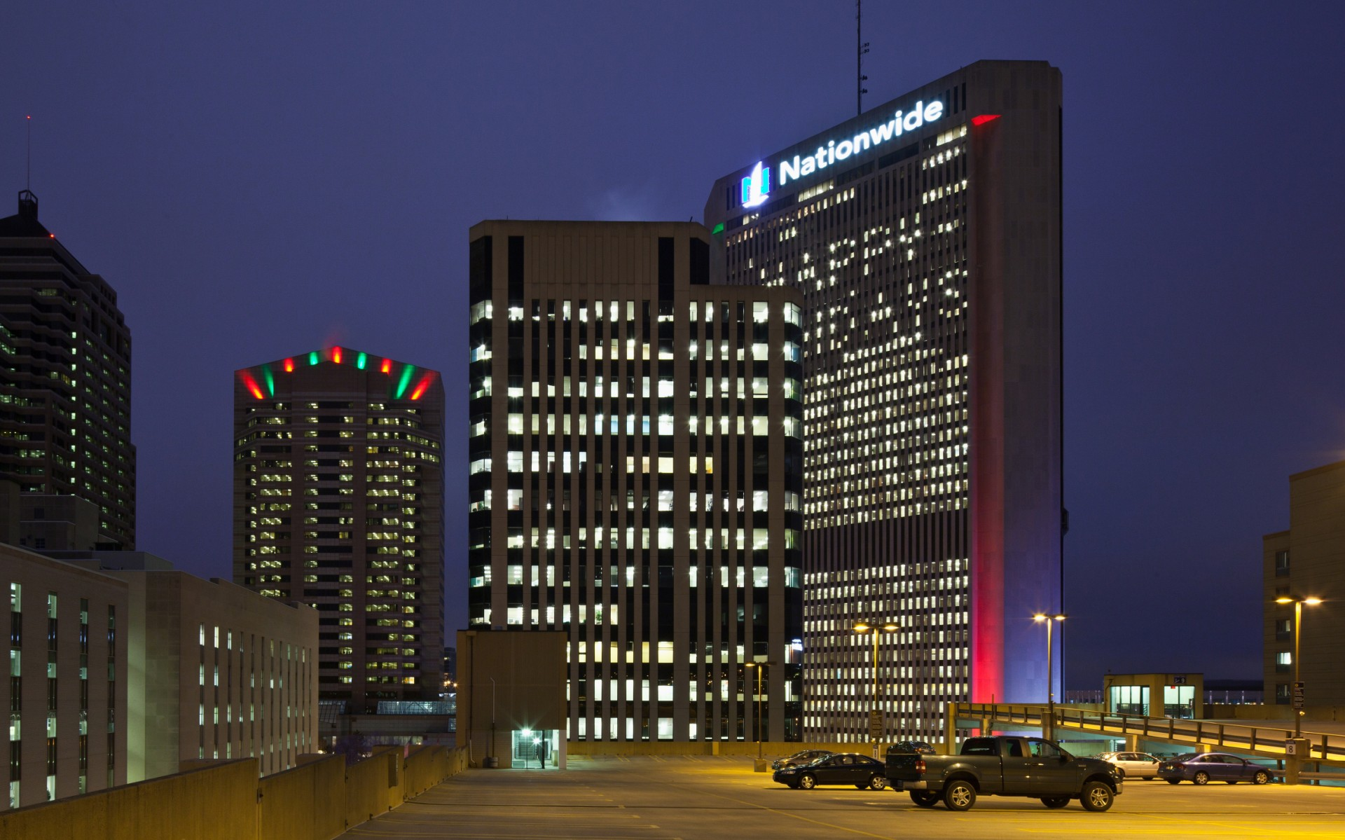 At Three Nationwide Plaza, 1000w PAR64 Halogen lamps were replaced with RGBW versions of Lumenbeam LBX luminaires.