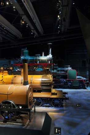 The result heightens the drama of each exhibit, giving every piece of railway history its own distinct look.