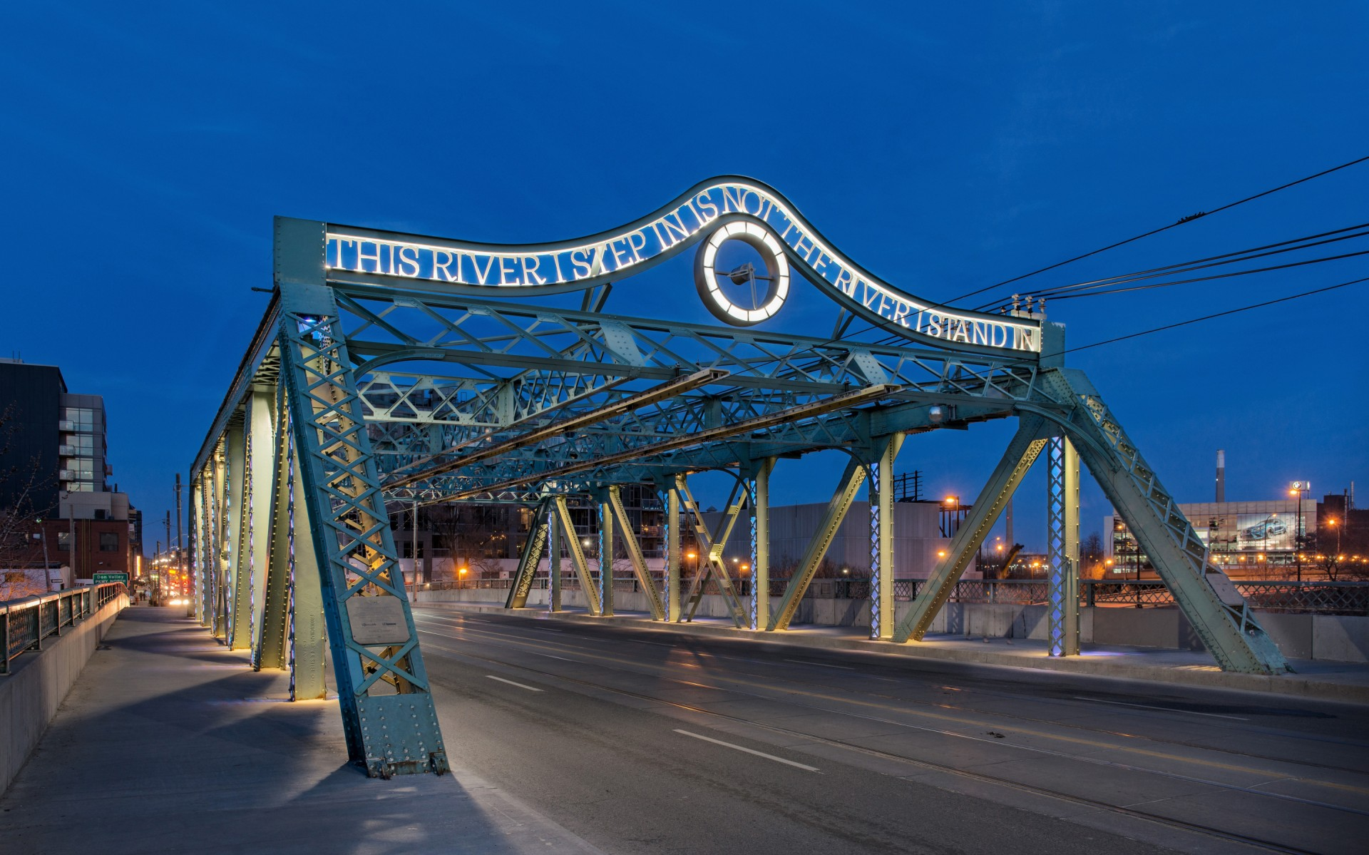 Toronto's Riverside Bridge was built in 1911 and revitalized in 2006 with artwork by Eldon Garnet.