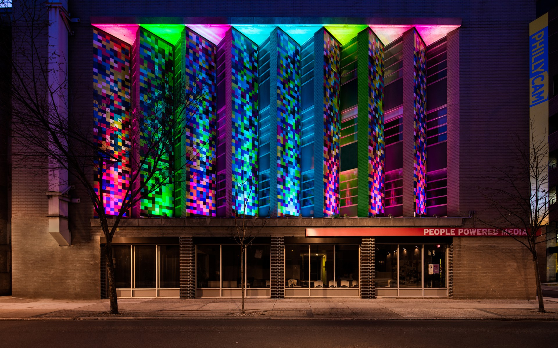 Programmed to cycle through different colors, the luminaires were carefully aimed to limit glare and light pollution.