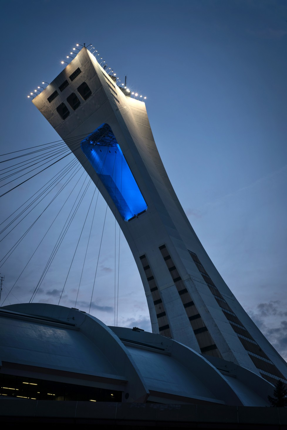 Lumenbeam Large Color Changing luminaires with 6° and 20° beam angles were used to modernize the tower's open arch lighting.