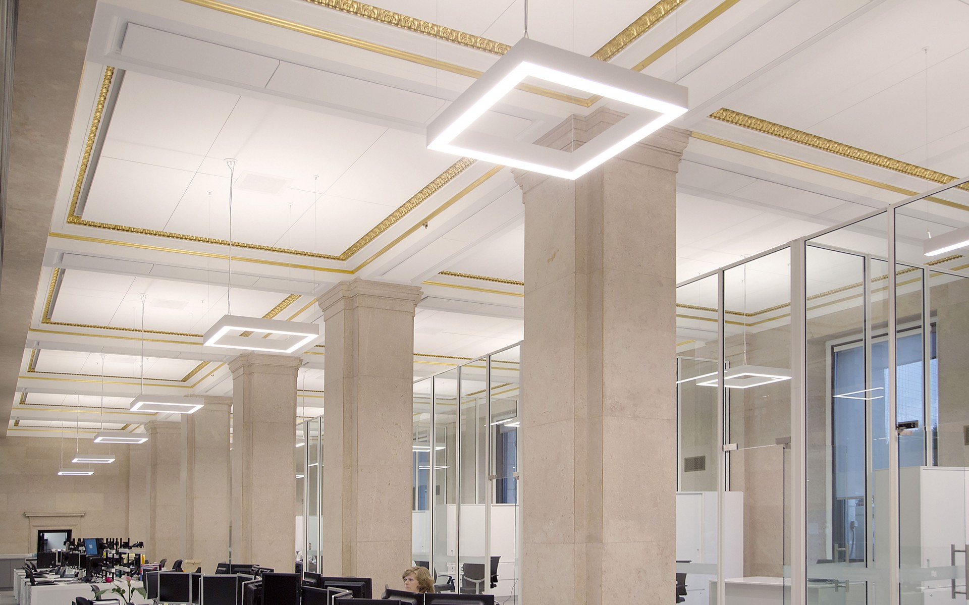 Lumenlines in square configurations with lit corners provide 3500k direct lighting and a softer 3000k indirect light to accentuate the gold leaf of each ceiling molding.