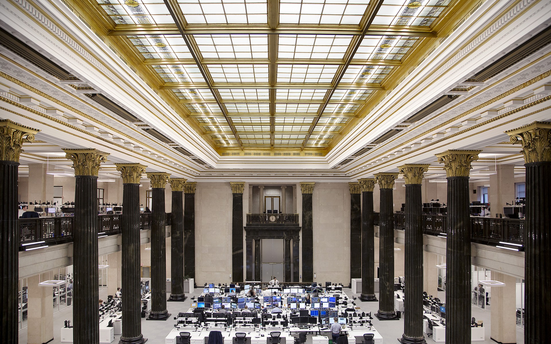 The National Bank of Canada's Montreal headquarters possesses a Grand Hall that is an ornate masterpiece.