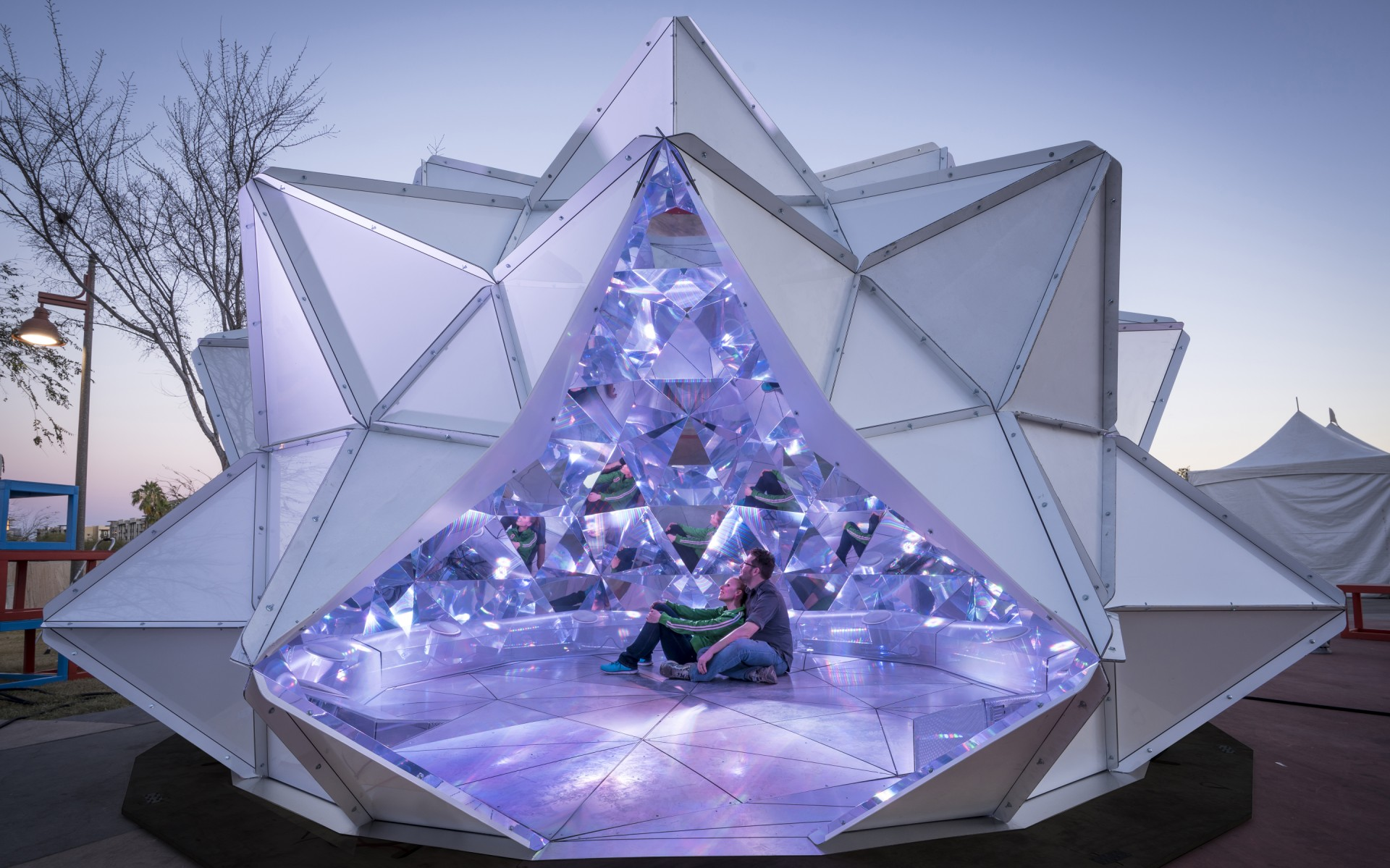 Lumenpulse luminaires bend reality in a giant, interactive 3D kaleidoscope created by artist KAZ Shirane and produced by Reuben Young.  – Sean Deckert