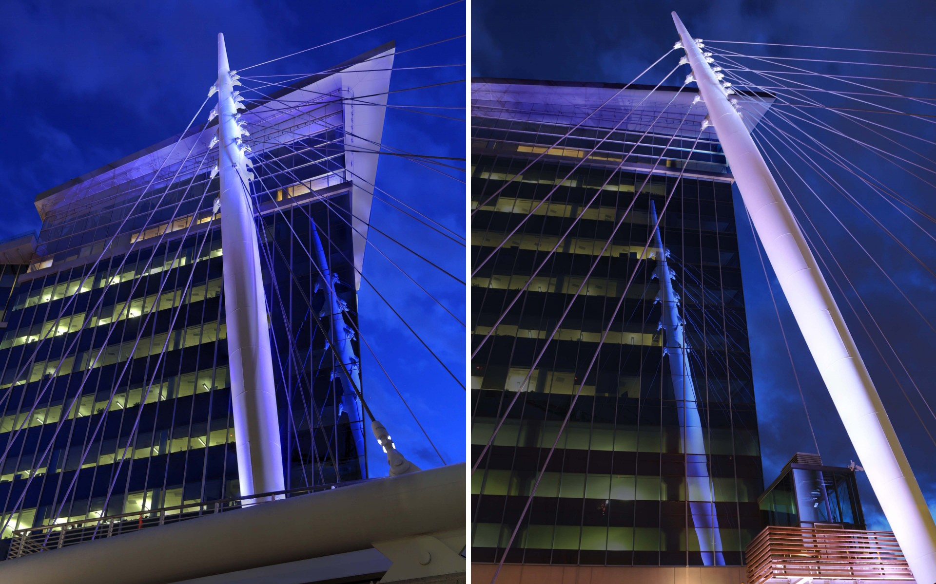 The luminaires' color-changing capabilities allow the bridge's iconic spire to be illuminated for holidays and special occasions.  – Ryan Linton