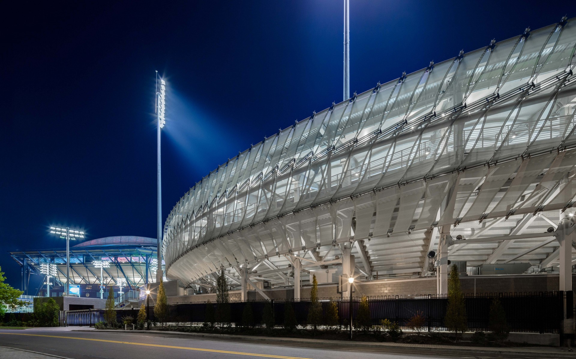 The Lumenbeam fixtures were able to make the panels and canopy float and glow, and to highlight the new stadium as a beacon on the campus. – Rafael Gamo