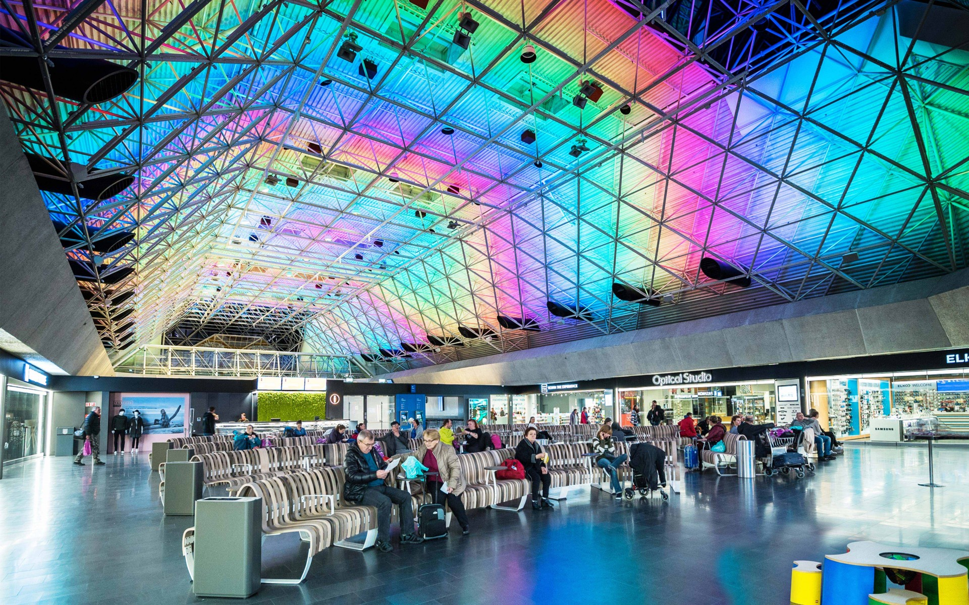 The new lighting comes as part of a major overhaul of the airport.