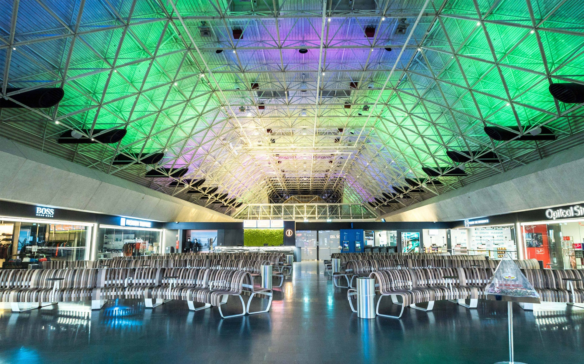 The dancing colours of the Aurora Borealis were recreated on the terminal ceiling.