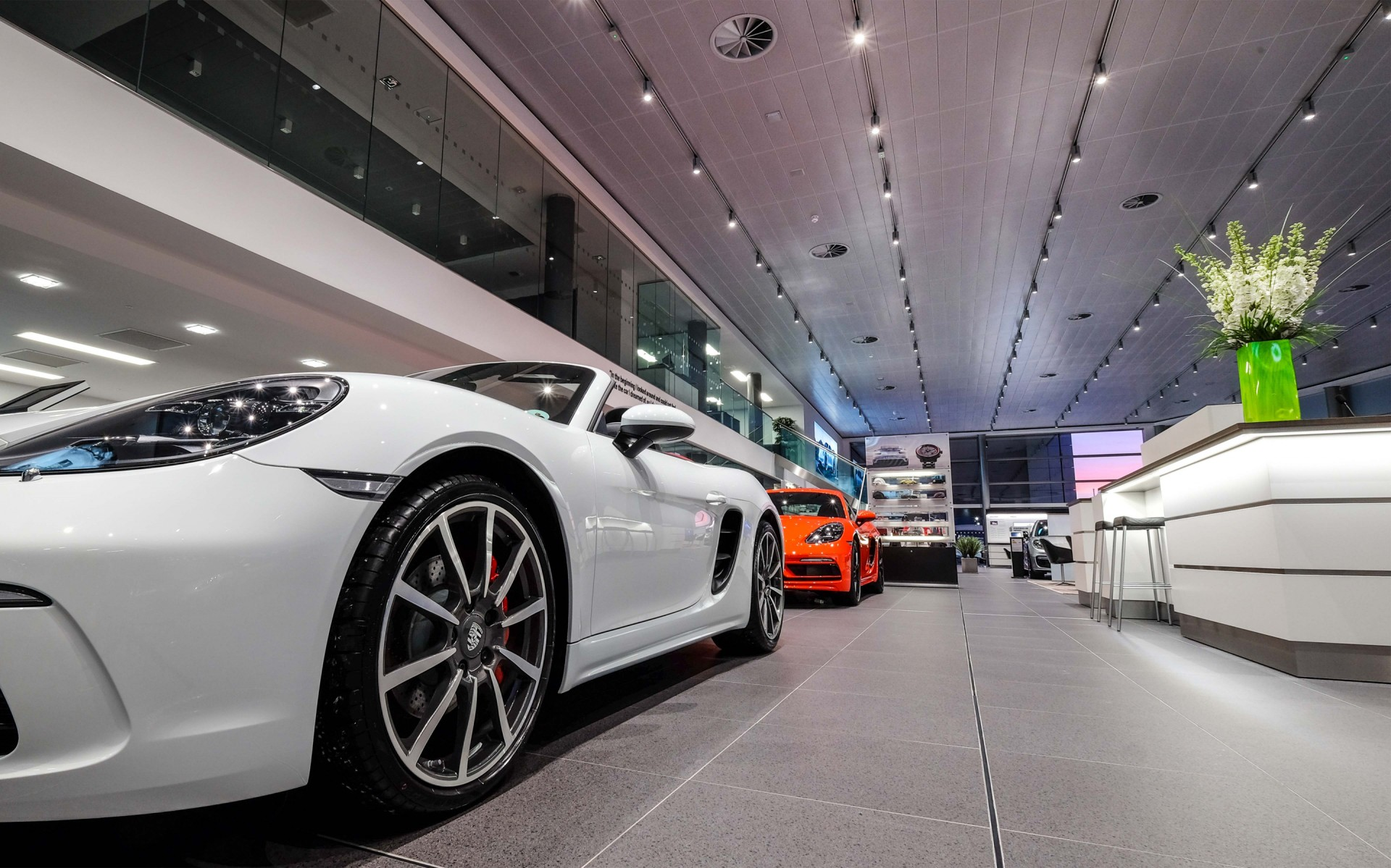 The M Spots used in Belfast's Porsche showroom, specified with a color temperature of 3000K and CRI95, offer only exceptional color rendering. – Lloyd Crawford