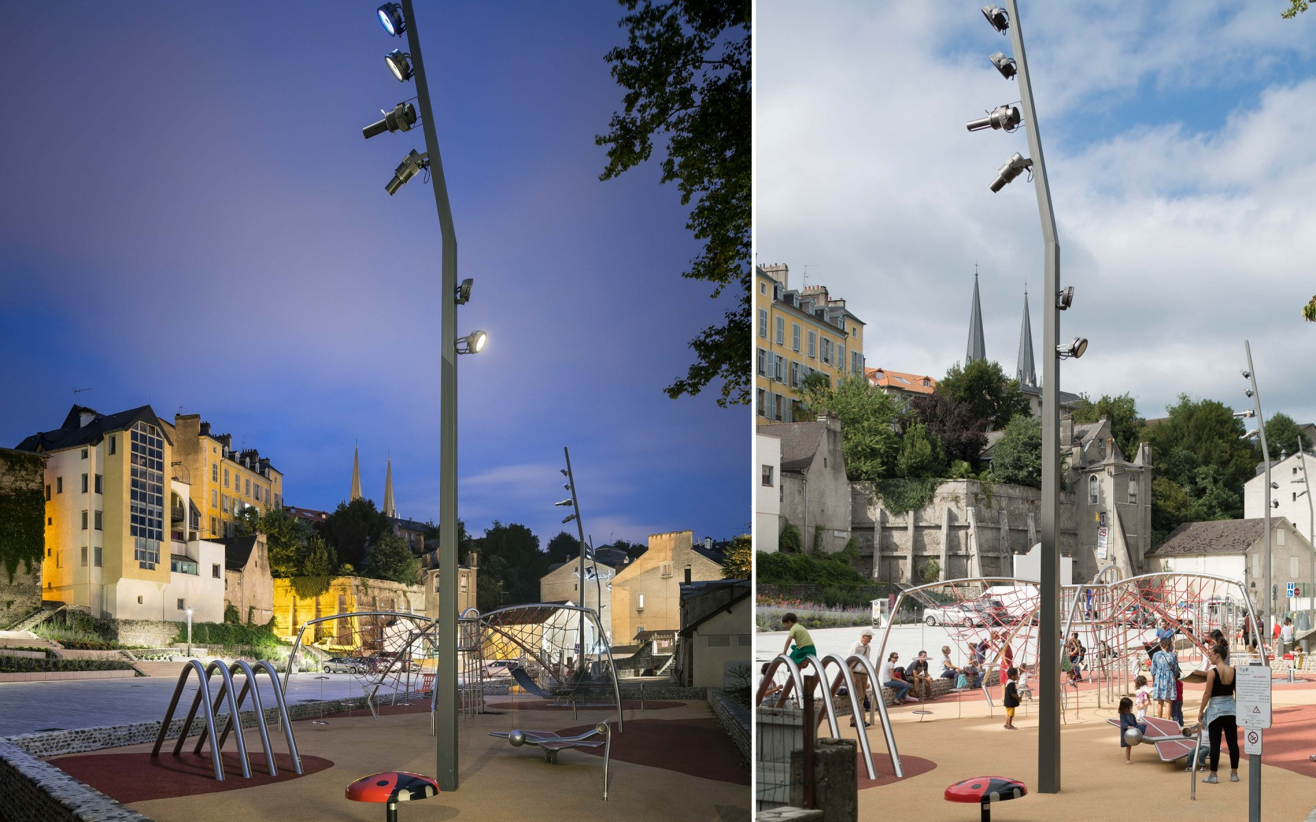 The Lumenpulse Lumenbeam luminaires mounted on two 34-foot tall (10.5m) masts light the play areas.