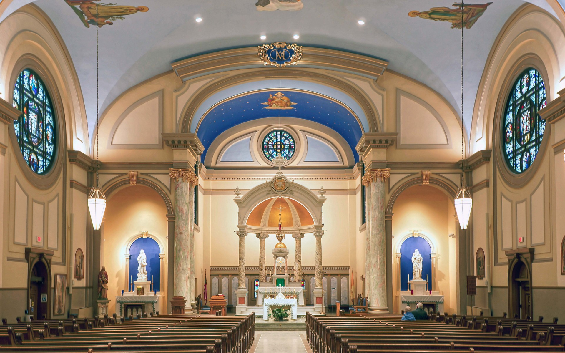 Erected in 1915, the Immaculate Conception Church in Cedar Rapids, Iowa, United States, was last updated in the 1980s. – Brian Gunning