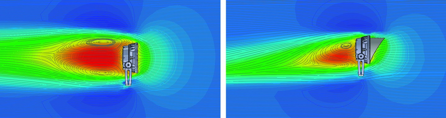 Flow Simulation on a Lumenbeam with and without an accessory.