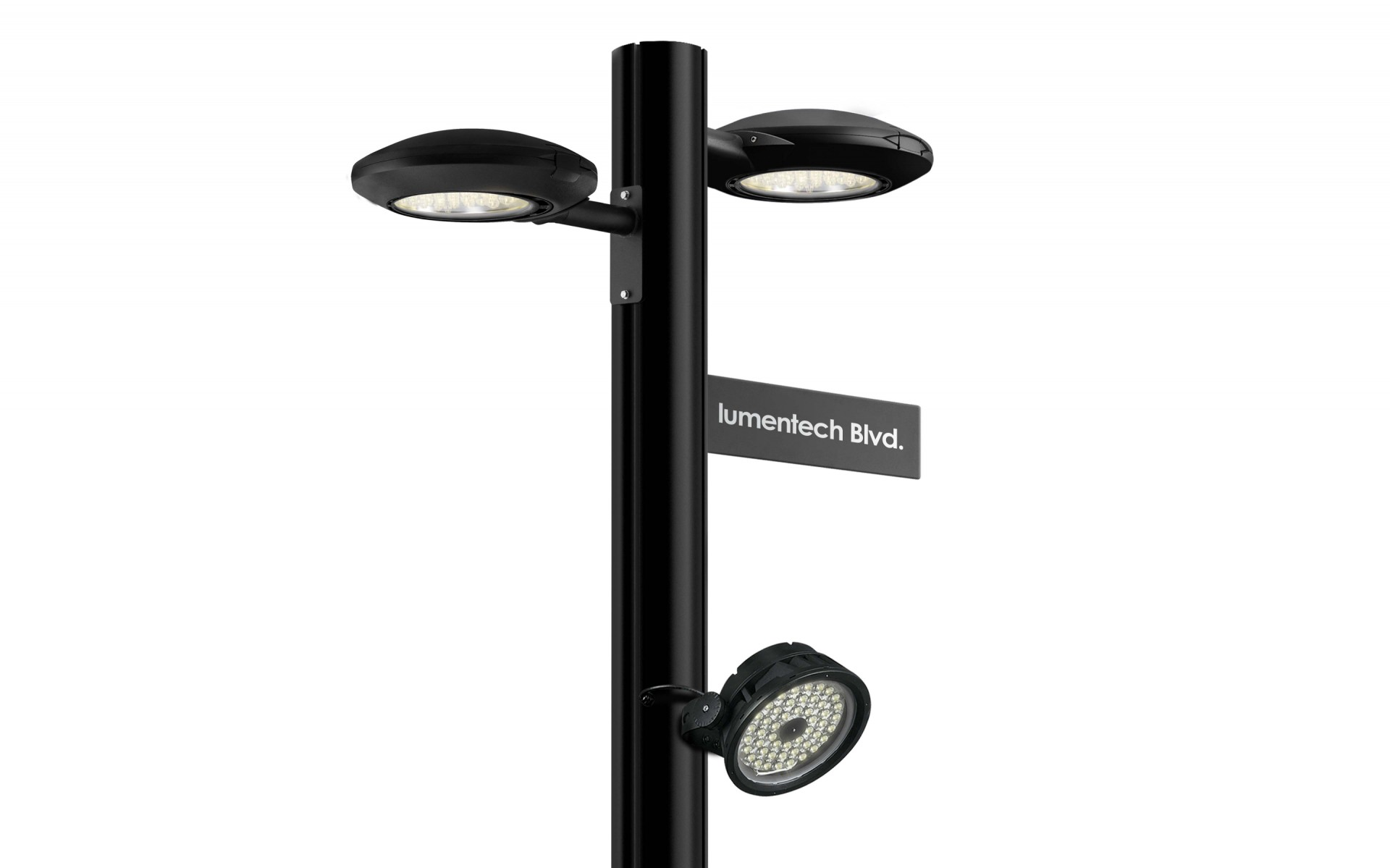 Lumentech Round  — Pure 100 + Lumenbeam Medium + Street sign holder